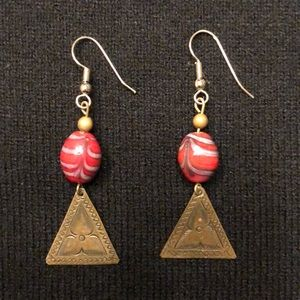 Handmade triangle dangle earrings